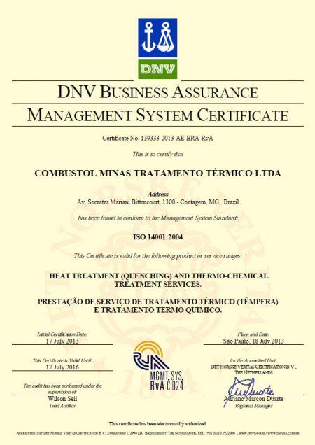 COMBUSTOL Minas conquista Certificação ISO 14001